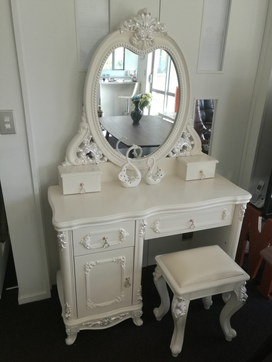 Dressing Table With Mirror And Stool: French Dressing Table With Mirror & Stool